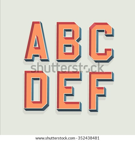 Vector Retro 3D Font with shadow. Vintage Alphabet from A to F - stock vector