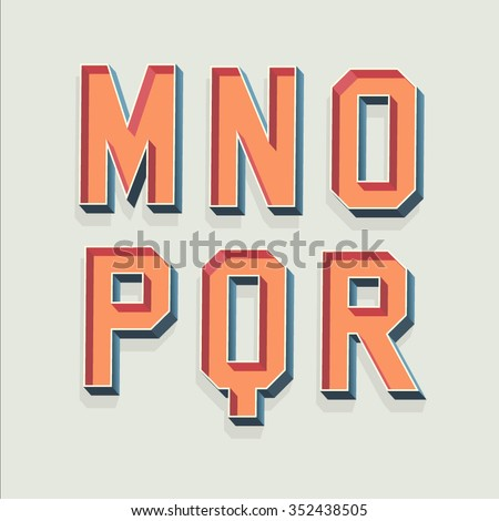 Vector Retro 3D Font with shadow. Vintage Alphabet from M to R - stock vector