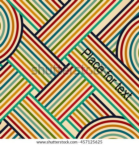 Vector retro design. Template background whit colors stripes print. Vintage illustration with place for text.   - stock vector