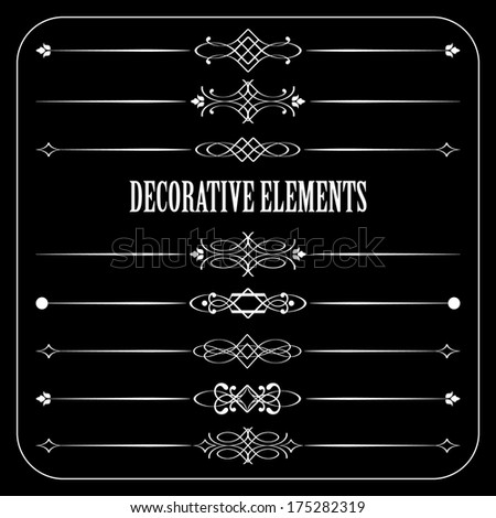 Vector retro divider set on blackboard background. Calligraphic design elements.  - stock vector