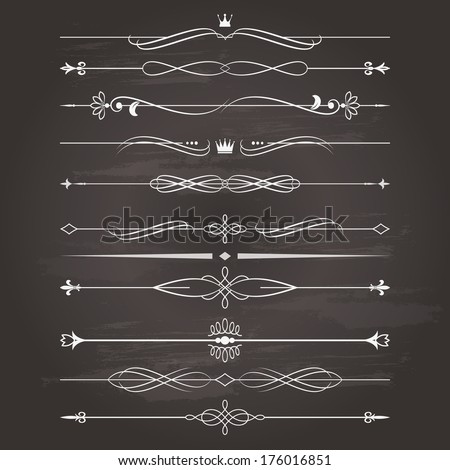 Vector retro divider set on chalkboard background. Calligraphic design elements. - stock vector