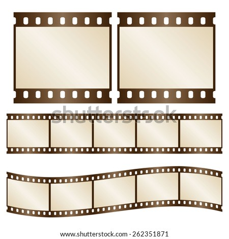 Vector retro film strips - waveform and straight strip. Insulated windows - you can create variable long straight filmstrip. Eps 10 vector file.  - stock vector