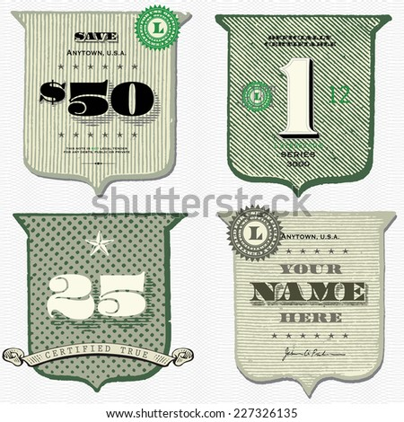 Vector retro financial frames set. - stock vector