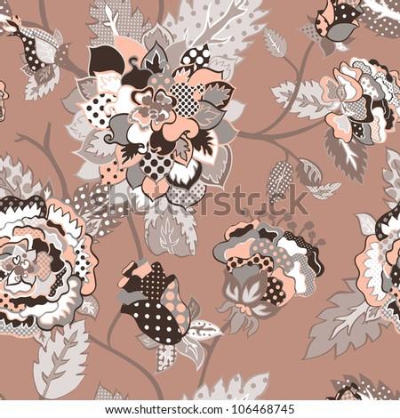 Vector retro floral seamless pattern. - stock vector