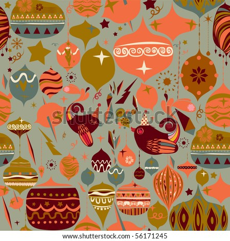 Vector Retro Floral (Seamless Pattern) - stock vector