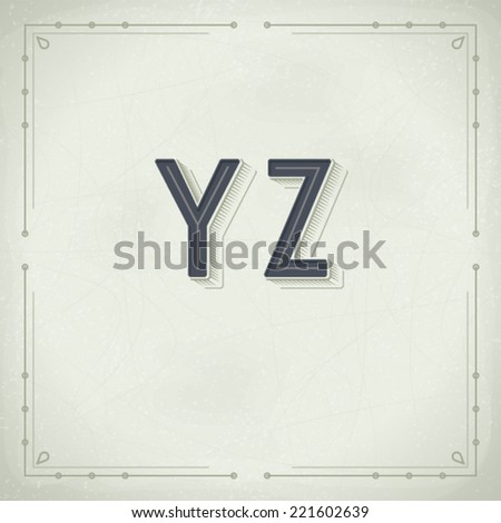 Vector Retro Font from Y to Z. Vintage Typography - stock vector