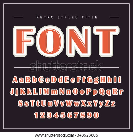 Vector Retro Font. Vintage Alphabet with uppercase and lowercase letters - stock vector