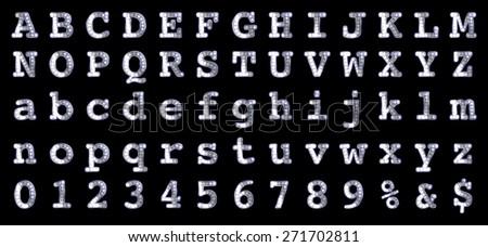 Vector retro font with bulbs. - stock vector