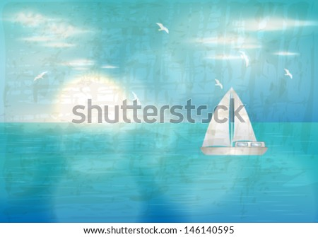 Vector retro, grunge summer illustration of beautiful blue ocean with sailing boat