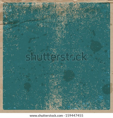 Vector retro grungy messy scratched blue paper background. Vintage used old card with wrinkles, stains and scratches. Can be used for grungy banner and flyer design.  - stock vector
