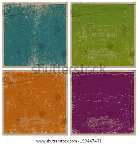 Vector retro grungy messy scratched paper backgrounds set. Vintage used cards with wrinkles, stains and scratches. Can be used for grungy web, banner and flyer design. Blue, green, orange and violet. - stock vector