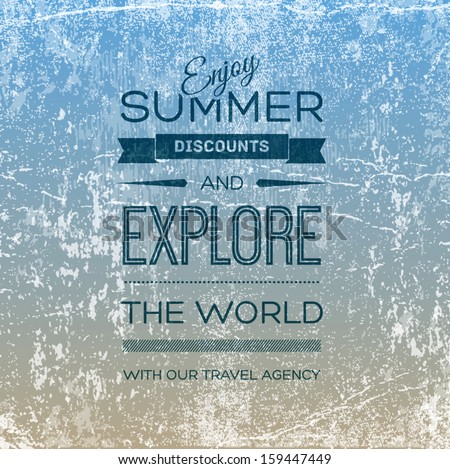 Vector retro grungy old scratched poster. Vintage used cardboard with wrinkles, stains and scratches. Can be used for banner and flyer design, for travel agency and summer vacation ads.  - stock vector