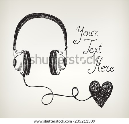 vector retro hand drawn doodle headphones, earphones with heart. Listening to the heart, in love with music - stock vector