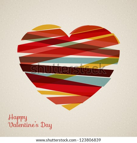 Vector retro heart made from color stripes - stock vector