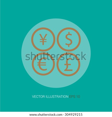 "Vector retro icon on a blue abstract background ""currency"" - stock vector"