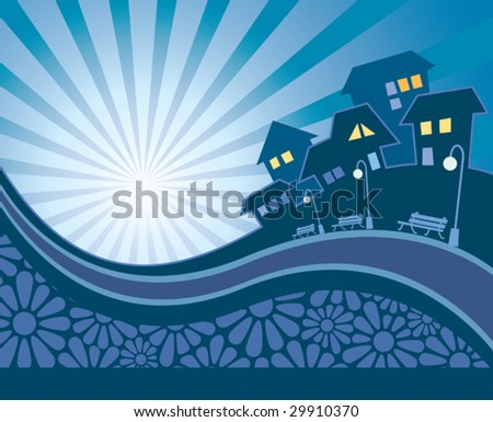 Vector retro illustration of suburban skyline with road and flowers