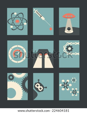 Vector Retro Illustrations Collection: Technology and Science  - stock vector