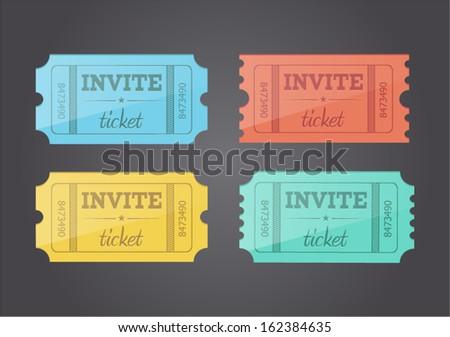 Vector retro invite tickets - stock vector