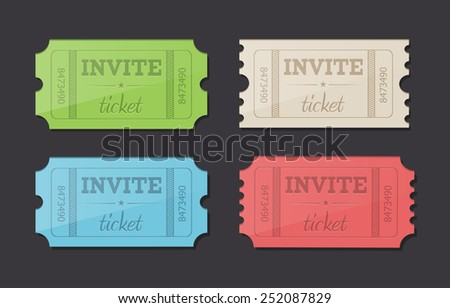 Vector retro invite tickets - stock vector