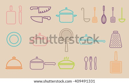 Vector retro kitchenware line icon set cookware trendy design