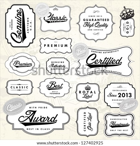 Vector Retro Label Set. Easy to edit. All layers are separated. - stock vector