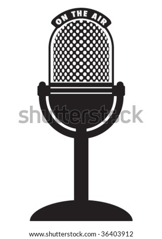 Vector retro microphone isolated on a white background. - stock vector