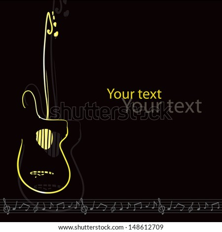 Vector retro music card with a golden guitar, G clef, staff and notes; could be used for different occasions such as: a bitrthday card, advertisement, flyer, banner, cover, template  and so on - stock vector