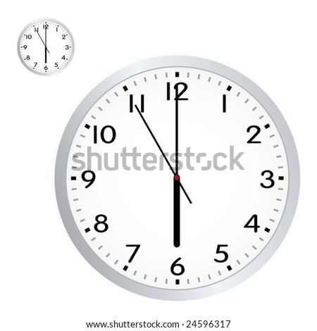Vector Retro Office Wall Clock - stock vector