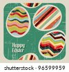 Vector retro Paper card with striped easter eggs - stock vector