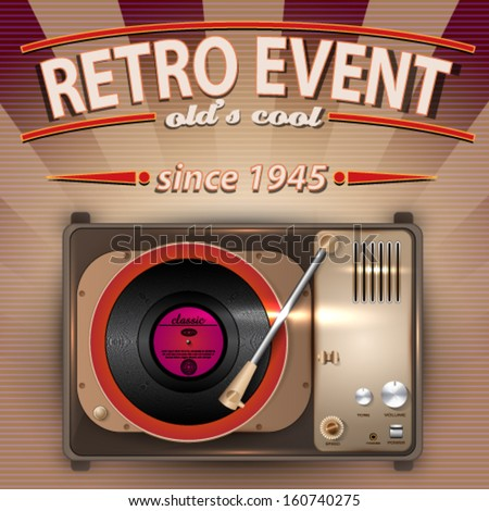 Vector Retro Party poster with Vintage Gramophone illustration - stock vector