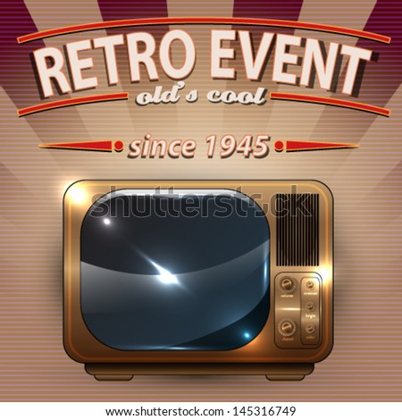 Vector Retro Party poster with Vintage Television illustration - stock vector