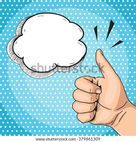 Vector retro pop art Like hand sign with text bubble, man hand showing like gesture comics style - stock vector