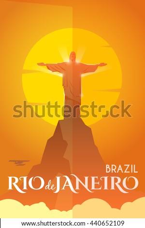 Vector retro poster. Holidays in Rio de Janeiro, Brazil. Statue of Jesus Christ on the mountain. Flat design. - stock vector