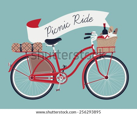 Vector retro poster on picnic ride with vintage bicycle with dress guard, wicker basket full of food like wine bottle, bread and apple and folded blanket fastened to rear rack, blue background - stock vector