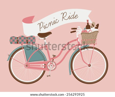 Vector retro poster on picnic ride with vintage bicycle with dress guard, wicker basket full of food like wine bottle, bread and apple and folded blanket fastened to rear rack, pink background - stock vector