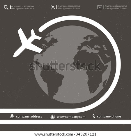 Vector retro poster wit airplane and airplane stream jet, minimalistic style, for travel agencies, aviation companies - stock vector