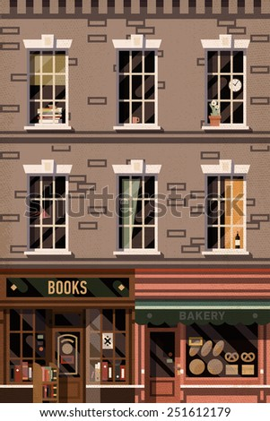 Vector retro printable poster design background on downtown brick building structure facade with detailed windows, retro bookshop and local bakery storefronts - stock vector