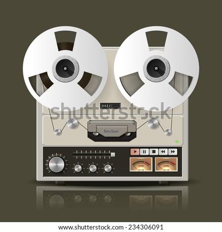 Vector retro reel tape recorder illustration. Eps10 - stock vector