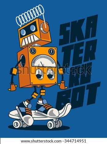 vector retro robot on skateboard, skater - stock vector