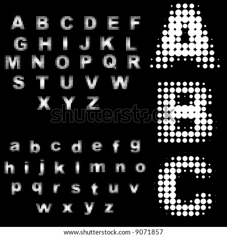 Vector - Retro 70s and 80s halftone dots in black and white alphabets. - stock vector