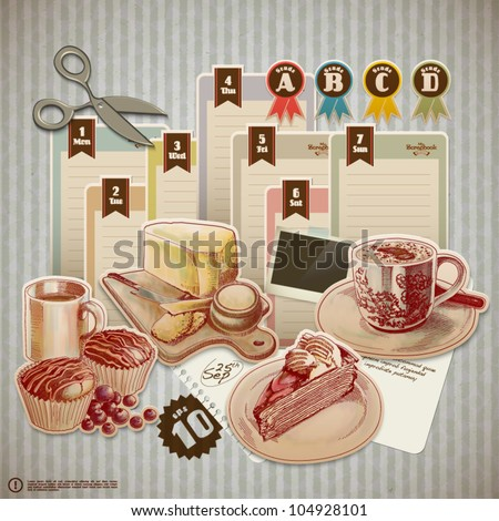 Vector Retro Scrapbook Element for Food and Drink Diary - stock vector