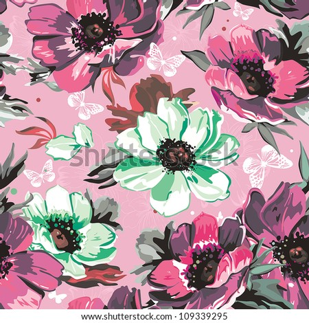 Vector Retro Seamless Pattern with floral ornament. Beautiful illustration. Elegance wallpaper with flower on Classic background. - stock vector