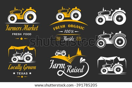 Vector retro set of farm fresh logos. Vintage farm badge collection. Organic farm logo and sign set. Farm labels and elements. - stock vector
