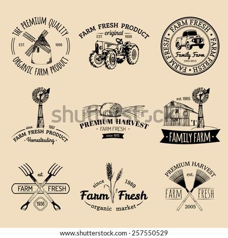 Vector retro set of farm fresh logotypes. Vintage farm logo collection - stock vector