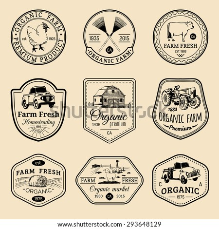 Vector retro set of farm fresh logotypes. Vintage farm logo collection. Organic farm logo set. Farm signs. - stock vector