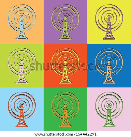 Vector retro set transmission tower-eps10 - stock vector