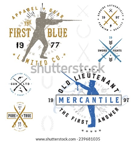 Vector Retro Soldier Badge Set. Easy to edit, all pieces are separated.  - stock vector