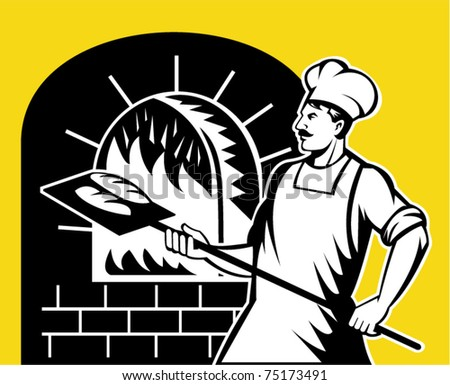 vector retro style illustration of a baker holding baking pan into wood oven