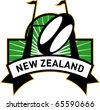 vector retro style illustration of a rugby ball and goal post inside rectangle with words new zealand - stock photo