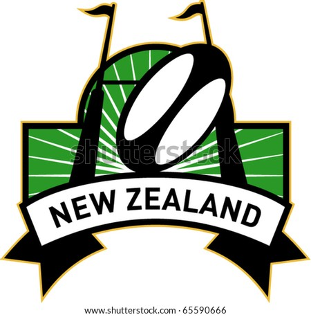 vector retro style illustration of a rugby ball and goal post inside rectangle with words new zealand - stock vector